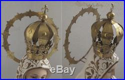 Our Lady of Fátima Three Children 41.1 inch Glass Eyes Religious Statue Antique