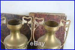 PAIR Religious Copper VaSES urns France 1930 Art deco