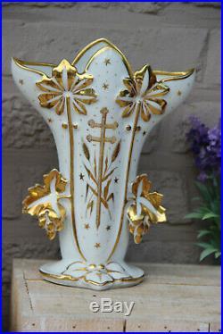 PAIR antique 19thc vieux paris porcelain church religious altar vases