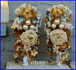 PAIR antique vieux paris religious porcelain Vase with silk floral boucquet