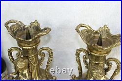 PAIR bronze Putti ram head Vases candle holders church religious