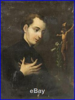 Painting, 18th Century, Framed Religious, Saint Aloysius Gonzaga, 1700s, Antique