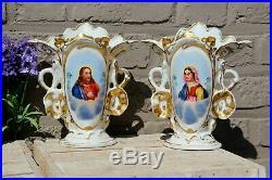 Pair antique french vieux paris porcelain jesus madonna portrait Vases religious