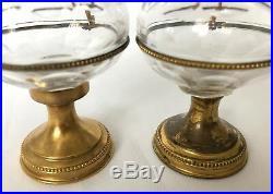 Pair of French antique religious altar cut glass cruet set