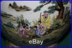 Quality Chinese Lidded Vase-Painted Scenes Religious Spiritual Men-Signed Bottom