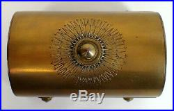RARE Antique Brass Bronze Religious Reliquary Cross Casket Jewelry Box w Velvet