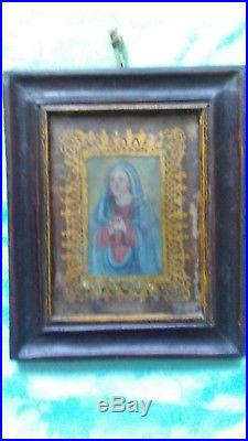 RARE Antique Reverse Painting On Glass Virgin Mother Ornate Gold Gilt Religious