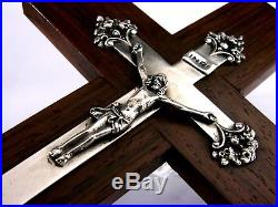 RARE FRENCH SOLID SILVER CRUCIFIX CROSS c1900 RELIGIOUS ANTIQUE STUNNING 9inch