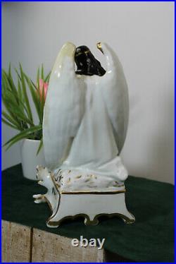 RARE antique Vieux paris porcelain holy water font angel figurine religious