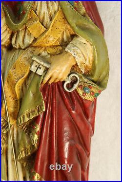 RAre XL Antique french religious statue figurine Bishop Saint Servatius Dragon