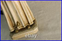 RAre antique french chalkware statue SAint rita white colour religious