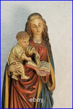 RAre antique french chalkware statue religious madonna child figurine