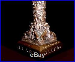 RELIGIOUS ANTIQUE CANDLE HOLDERS ORNATE! RARE! MEDIEVAL SYMBOLS BAROQUE! 1880s