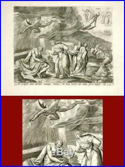 RELIGIOUS ANTIQUE PRINT- SATAN-JOB-N. J. Visscher-1674