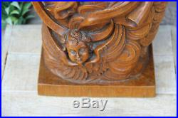 Rare Antique 19thc Wood carved madonna putti angels religious church statue
