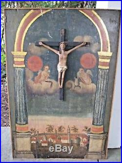 Rare Antique Old Master Italian Folk Art 3d Crucifix & Angels Cherubs Provenance