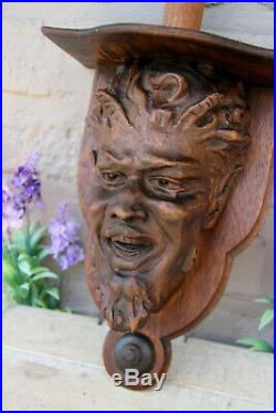 Rare Antique french religious devil head oak wood carved wall console