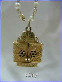 Rare Estate Antique 14k Yellow Gold Hebrew Torah Scroll Star Of David Necklace