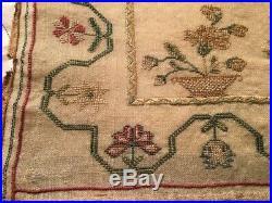 Rare Fantastic 1826 Silk Sampler Maria Holmes Religious Estate Nice Piece NR