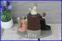 Rare French Antique religious chalkware Statue group regina cordium mary queen