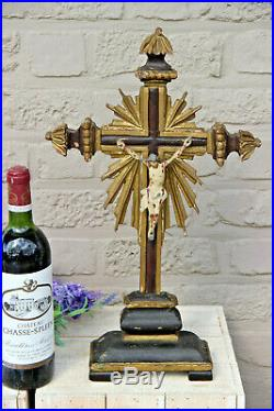 Rare Large Antique 1800s French wood carved religious crucifix Cross