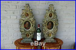Rare PAIR church antique 18thc wood carved religious plaques panel 3 paintings