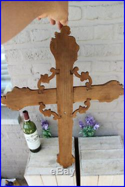 Rare XL Antique French wood carved Crucifix Cross religious church