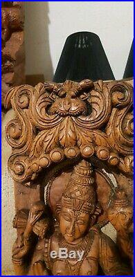 Real Masterpiece Exquisite Big Vintage Hindu Religious Carved Temple Wood Panel