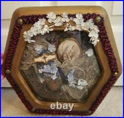 Religious Collage Victorian Hand Made Lace Catholic Reliquary Paris OOAK