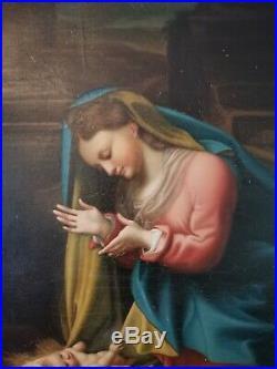 Renaissance Old Master Correggio Saint Madonna Christ Huge Antique Oil Painting