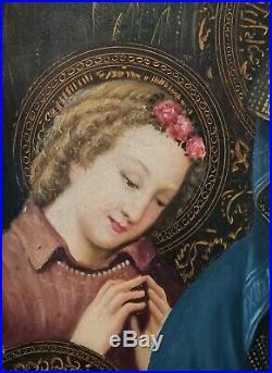 Renaissance Style Religious Saint Angel Madonna Christ Huge Antique Oil Painting