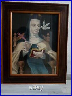 SAINT TERESA OF JESUS Antique Watercolour Original Religious Huge Spanish Art