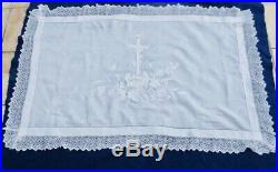 STUNNING! Altar Cover Mat Hand Embroidered French Antique / Vintage Religious