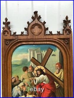 SUPER SALE! Stunning Gothic Frame in oak with Religious Oil painting on Copper