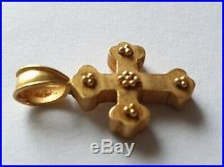 Scarce-circa 1000-1200 Ad Byzantine Gold Religious Cross Pendant 22 Carats