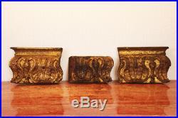Set of Three Antique Baroque Portuguese Altar Fragments, 18th Century, Religious