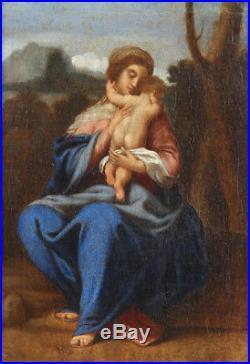 Sisto Badalocchio Oil painting Madonna Child 17th century old religious antique