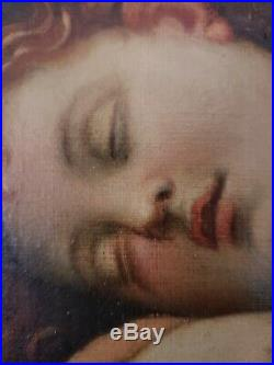 Sleeping Christ Child After Alessandro Allori Antique Oil Painting Date Unknown