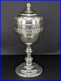Solid Silver chalice cup with cover possibly religious 6 inches high