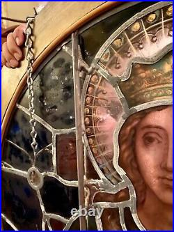 St Elizabeth- Stained Glass Window Antique Religious Relic Vintage- Church