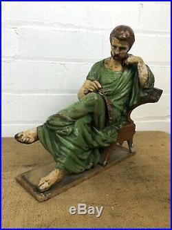 Superb Antique Spelter Scholar Figure Cold Painted Religious Statue Sculpture