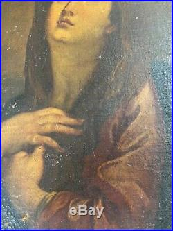 Superb Antique The Penitent Mary Oil Painting Framed For Restoration