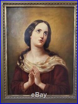 Superb large antique O/C painting of Madonna in great condition! Framed