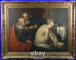 Susanne and the elders Dutch Antique Painting with incredible Gold Frame