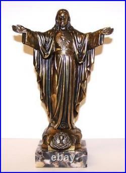 Unusual ANTIQUE RELIGIOUS STATUE Jesus On MARBLE PLINTH Circa 1900