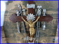 VINTAGE 1800s Religious Jesus Christ THY KINGDOM COME Shadowbox Art Display Folk