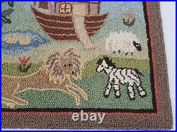 VTG 1988 McAdoo Hand Hooked and Dyed Rug Noah's Ark 36 x 26 Bible Religious