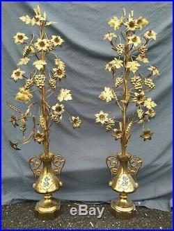 Victorian Pair 2 Antique Bronze Urn Flower Altar French Church Religious 44