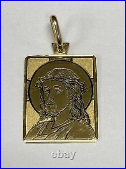 Vintage 18k Yellow Gold Rectangular Jesus Christ Charm! Black Antique