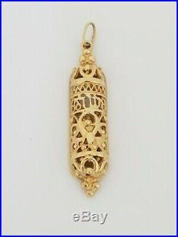 Vintage Antique 14k Yellow Gold Mezuza Filigree Design Hand Made Engravable Back